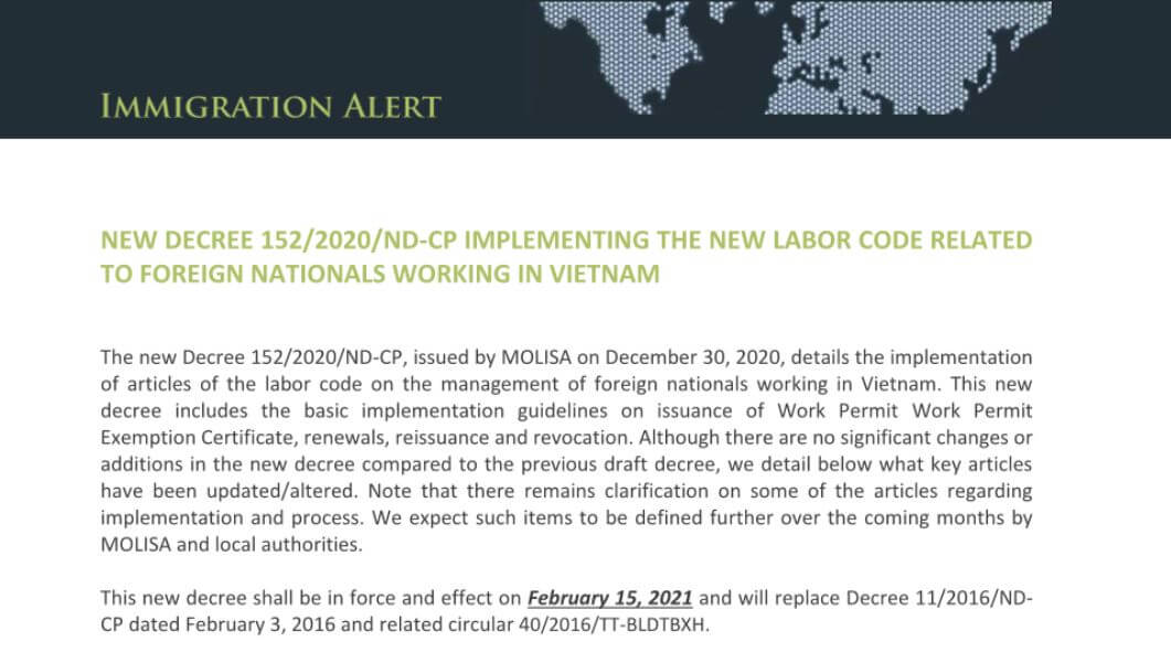Decree: The New Decree on the Management of Foreign Workers in VN